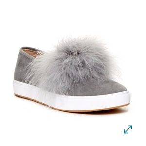 Steve Madden Emily Faux Fur Feather Gray Slip Ons